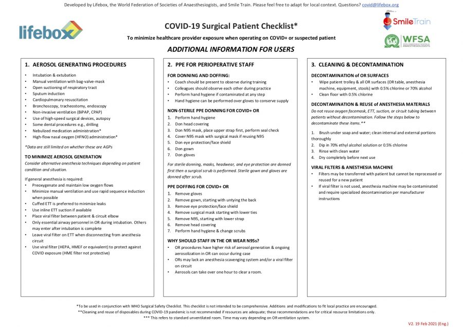 COVID-19 Surgical Patient Checklist Page Two English